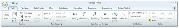 Mathcad Prime Ribbon